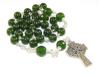 Anglican Prayer Beads - Christian Rosary, Celtic Cross, Greenstone / Nephrite Jade