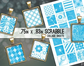 Bright Blue and White Patterns Collage Sheet Scrabble Tile Images .75x.83 on 4x6 and 8.5x11 Download Sheets for Glass Resin Pendants