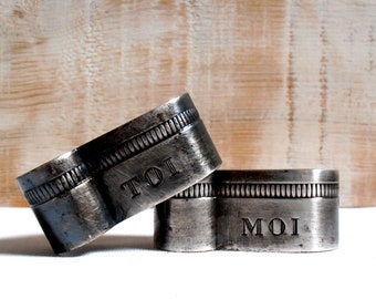 Duo you and me - 2 rings - silver - France 70s