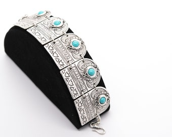 Turquoise Stone Antique Silver Plated Vintage Bracelet Adjustable Length Silver Bracelet Fashion Bracelet Handmade