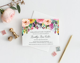 Floral Graduation Party Invitation Template, Editable Instant Download PDF Printable, High School, College, MAM106_57