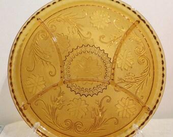 "Indiana Tiara Pattern Amber Sectional Glass Dish 10"""