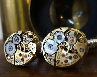 Vintage Bulova Watch Movement Cufflinks