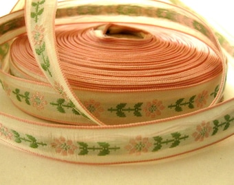 Vintage Gorgeous Embroidered, Pink Edging, Floral Ribbon, 3 Yards