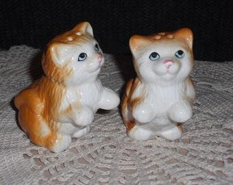 Orange Kitty Cat Salt and Pepper Shakers - Circa 1970