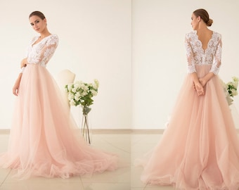 Tulle wedding dress etsy tulle wedding dress pink wedding dress v neck wedding dress pink bridesmaid junglespirit Image collections