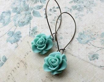Aqua Rose Earrings Long Dangly Earrings Something Blue Bridesmaid Gift for Women Teal Wedding Jewelry Modern Colorful Lighweight Nickel Free