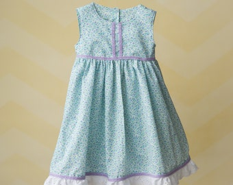 Handmade Blue Spring Time Dress with Purple Trim.