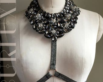 Statement Black Diamond and Clear Sparkly Burlesque Elastic Bra Halter Beads Jewelry and Costume All In One Made to Order