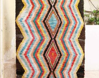 """4'1"""" x 6'3"""" BOUCHEROUITE, Boucherouite Rug, Boucharouette, Rag Rug, Moroccan Rug, Boho Chic, Shabby Chic Design"""