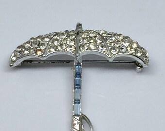 1930's Pave Umbrella Brooch
