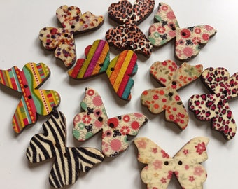 10 Butterfly Shaped Buttons - Patterned Wooden Button - 21mm x 29mm - Printed Buttons - Coloured Buttons - Mixed Color Button - PW128