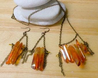 Crystal Jewelry Set, Quartz Jewelry, Boho Jewelry, Tangerine Aura, Crystal Point Set, Hippie Crystal Set, Crystal Points, Stone Jewelry Set