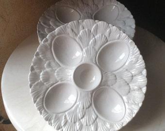 Set of 4 vintage ceramic egg plates
