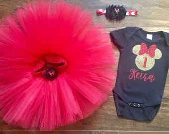 Minnie Mouse First Birthday Outfit, Minnie Mouse Outfit, Minnie Mouse Birthday, Minnie Mouse Tutu, First Birthday Tutu