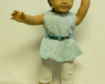 Aqua Tunic With White Leggings For 18 Inch Doll Like The American Girl