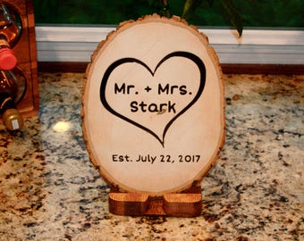 Custom Carved Wood Center Piece / Sign - Wedding, Anniversary, Retirement, Graduation
