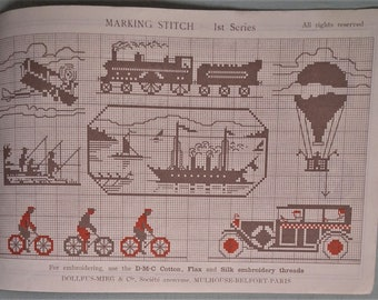 Antique / Vintage Sewing Book - Marking Stitch Ist Series French cross stitch embroidery charts booklet -  monograms train balloon car