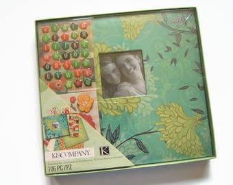 Scrapbook Album Kit - Green Photo Album - Teal Photo Scrapbook Album - Scrapbook Photo Album Kit - Family Scrapbook - Family Album Kit
