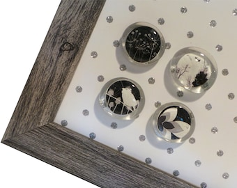 Magnet Board - Magnetic Memo Board - Dry Erase Board - Wall Decor - Framed Memo Board - Silver Glitter Polka Dot Design - inclds magnets