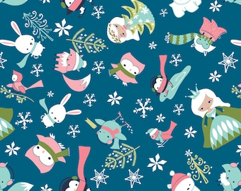 Camelot Ice Princess and Animal Friends  Blue  Flannel Fabric By the Yard