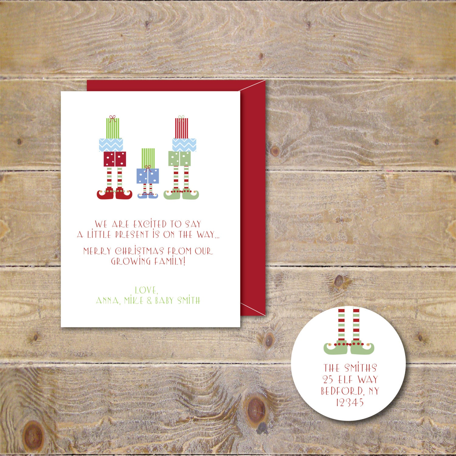 Christmas Cards . Holiday Card Set . Expecting Baby Christmas