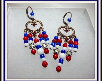 Red, White, Blue Earrings, Patriotic, Chandelier Earrings, Stars and Stripes, Copper Lever Backs, Long Earrings
