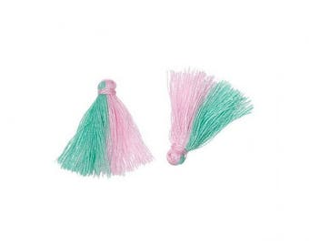 20 mini tassels bicolor green and pink 25mm
