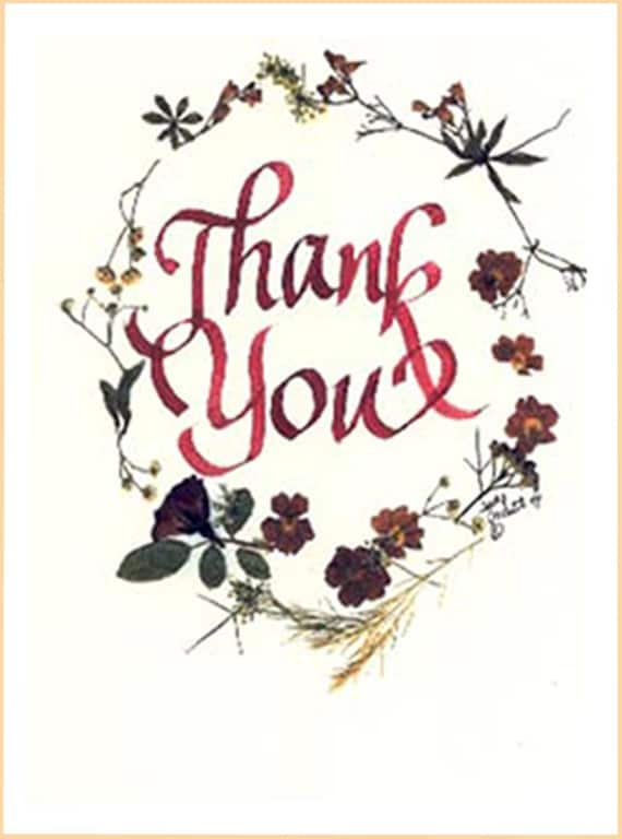 thank you card beautiful thank you colorful pressed flowers