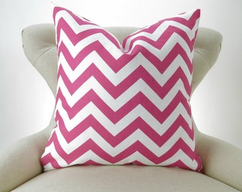 Hot Pink Zigzag Pillow Cover -MANY SIZES- candy magenta white chevron decorative throw euro sham custom cushion modern contemporary
