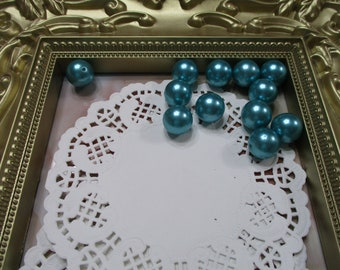 Vintage 14mm Aqua Round Pearl Beads-Costume-Old Stock-Made in Japan