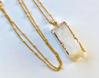 White Agate 24K Gold Edged Column Pendant Necklace White Druzy Gold Filled Necklace Natural Gemstone White Quartz Chakra Pendant