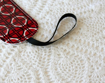 Luggage Tag - Red, Black, & White - Reversible