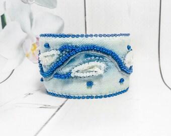 Jeans Cuff Denim bracelet Blue Jeans Denim Jewelry Embroidery Blue bead Boho bracelet Denim Blue Bead gift Trend jewelry