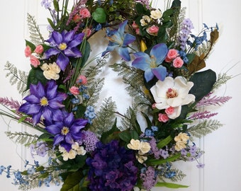 Spring Summer Wreath, Real Touch Hydrangea Wreath, Roses Wild Flowers Purple Lavender Pink Cream Blooms Spring Summer Fall Decor