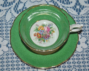 Beautiful  Vintage, Coalport, Green Glazed, Fine Bone China Teacup And Saucer