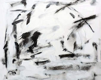 Black and White Landscape 4-2-14  (abstract expressionist painting, black, white, silver)