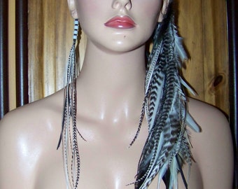 Long Feather Earrings, Feather Extensions, Feather Extension Boho, Boho Headband, Feather Headband, Burning Man, Headpiece, Black and White