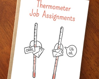Funny Get Well Card; Thermometer Jobs; Cute Get Well; Funny Card for Nurses; Card for Doctors; Medical Humor; Medicine; Nursing; Card for RN