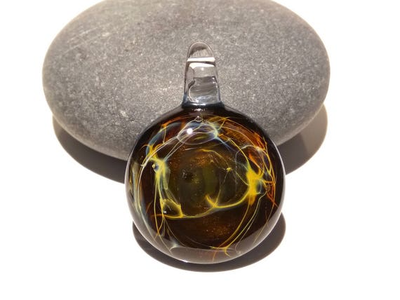 Glass Pendant - Dragon Cave Pendant - Glass Art - Borosilicate - Blown Glass Jewelry - Unique Necklace Made with Pure Silver - Free Shipping