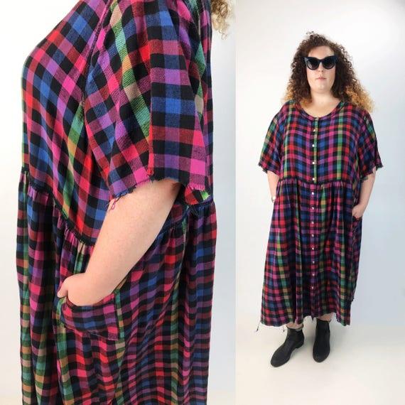90's Rainbow Flannel Baby Doll Dress 5XL Plus - Long Frayed Plaid Cotton Grunge Dress - Plus Size 90s Hipster Fashion Plaid Colorful Dress