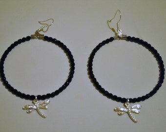 Handmade black hoop earrings with czech crystal beads