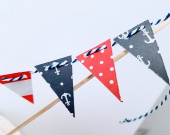 Whimsical Cake Bunting- Patriotic Pennants, Nautical, 4th of July independence day red white & blue party summer BBQ ocean beach boating