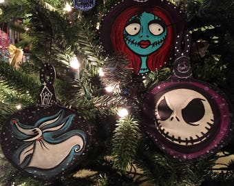 Nightmare Before Christmas wooden Christmas ornaments hand painted fan art