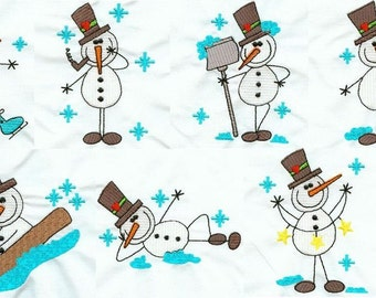 Stick Snowmen - INSTANT DOWNLOAD - Machine Embroidery - 4x4 hoop