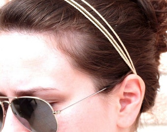 """Headband blanc 3 tresses + chaine LIANES - Coiffure Mariage / Cérémonie / Quotidien- Collection """"Gypsy Chic"""""""