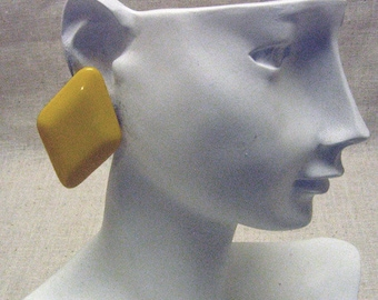 1980s Sunny Yellow Plastic  Clip Earrings
