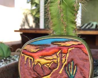 Cactus Belt Buckle/ Leather Belt Buckley/ Personalized Belt Buckle/ Southwest Belt Buckle/ 70s' Accessories/ Navajo Belt/ Weed Belt Buckle
