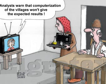 "Color Hand-Drawn Downloadable Cartoon, Funny Digital Comic, Cartoons, humor art gift - ""Computerization of the villages"""