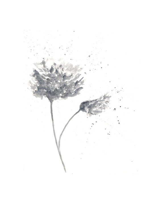 Black and white flower painting